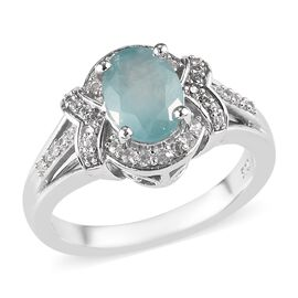 1.50 Ct Grandidierite and Zircon Cluster Ring in Platinum Plated Silver