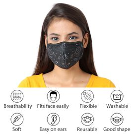 6 Layer Celestial Pattern Reusable Face Covering (One Size) - Black
