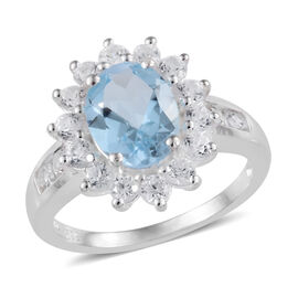 Sky Blue Topaz (Ovl), Natural Cambodian Zircon Ring in Sterling Silver 3.25 Ct.