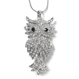 White and Black Austrian Crystal (Rnd) Owl Pendant with Chain (Size 29 and 2.5 inch Extender) in Silver Tone