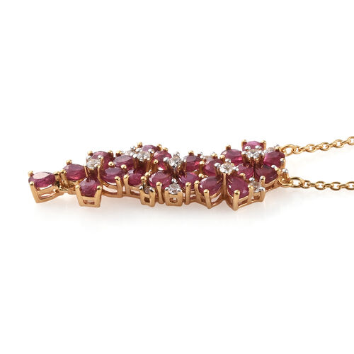 African Ruby (Pear), Natural Cambodian Zircon Floral Pendant with Chain (Size 18) in 14K Gold Overlay Sterling Silver 4.750 Ct