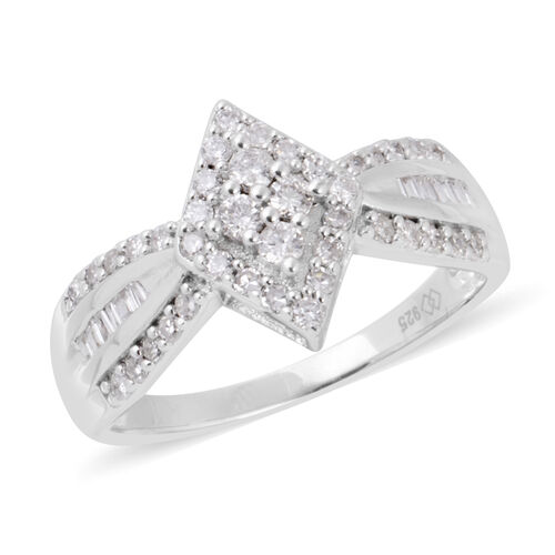 New York Close Out Deal- Diamond (Rnd and Bgt) (I2-I3) Ring in Rhodium Plated Sterling Silver 0.500