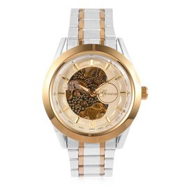 GENOA Automatic Skeleton Cream and Golden Chronograph Dial Water Resistant Watch in Silver Tone with Chain Strap