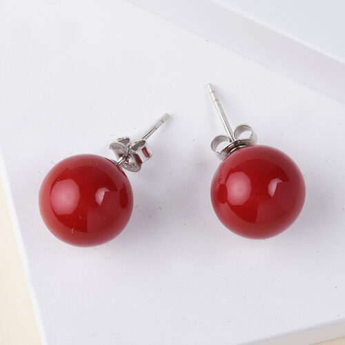 Coral Shell Pearl Stud Earrings (with Push Back) in Rhodium Overlay Sterling Silver
