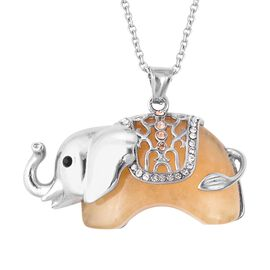 Honey Jade and Multi Colour Austrian Crystal Royal Elephant Pendant With Chain (Size 24) 75.001 Ct.