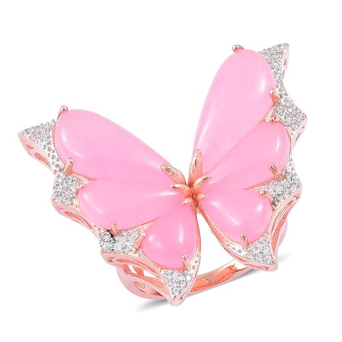 Designer Inspired-Pink Jade and Natural White Cambodian Zircon Butterfly Ring in Rose Gold Overlay Sterling Silver 18.230 Ct. Silver wt. 6.84 Gms.