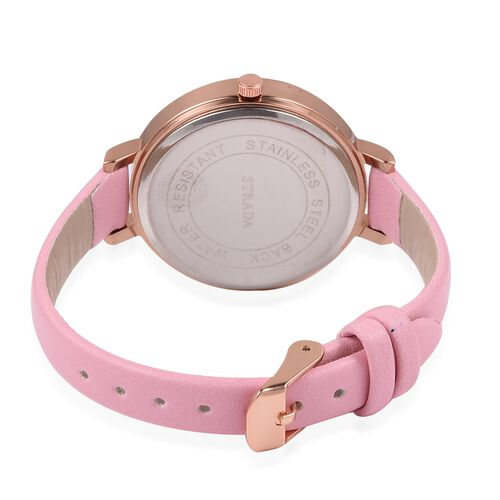 STRADA Japanese Movement White Austrian Crystal Studded Butterfly Water Resistant Watch with Pink Colour Strap