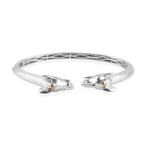 Elephant Head Cuff Bangle in Platinum and Yellow Gold Plated 7.5 Inch
