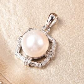 Edison Pearl Pendant in Rhodium Overlay Sterling Silver