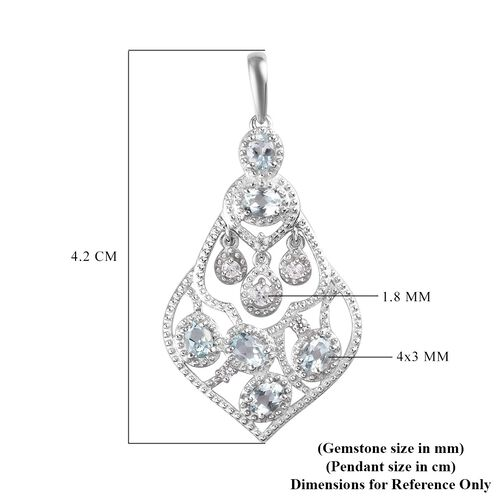 AA Santa Teresa Aquamarine and Natural Cambodian Zircon Pendant in Platinum Overlay Sterling Silver 1.05 Ct.