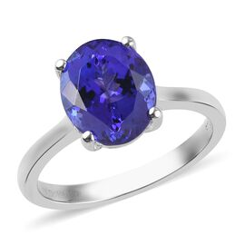 Signature Collection 950 Platinum AAAA Tanzanite Solitaire Ring 3.50 Ct, Platinum wt. 4.90 Gms