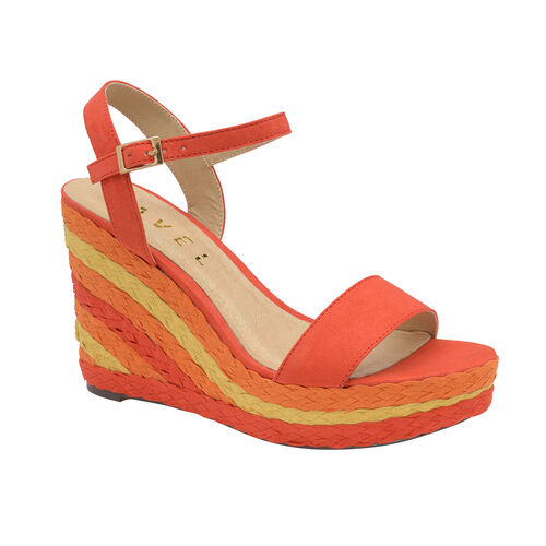 Ravel Dixie Wedge Open-Toe Sandals (Size 4) - Red