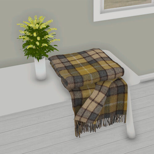 2 Piece Set - Checkered Pattern Wool Throw Blanket with Fringe (Size 135x170cm) and Cushion Cover with Zipper Closure and Flap Over (43x43cm) - Beige and Grey