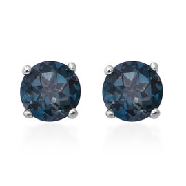 London Blue Topaz (Rnd) Stud Earrings (with Push Back) in Sterling Silver 2.00 Ct.