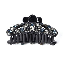 Crystal Studded Hair Claw Clip - Blue Black and Grey