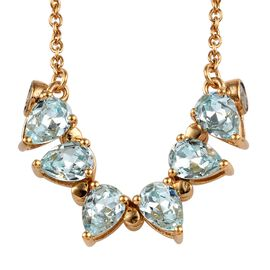 J Francis - Crystal from Swarovski Light Azure Colour Crystal (Pear) Necklace (Size 17-18) in  Gold
