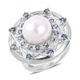 Lucy Q White Pearl and London Blue Topaz Halo Ring in Rhodium Plated Silver