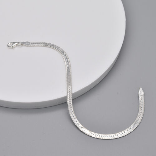Italian Made - Sterling Silver Herringbone Bracelet (Size 7)