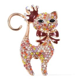 Multi Colour Austrian Crystal and Simulated Black Spinel Kitty Design Brooch with Enameled in Gold P