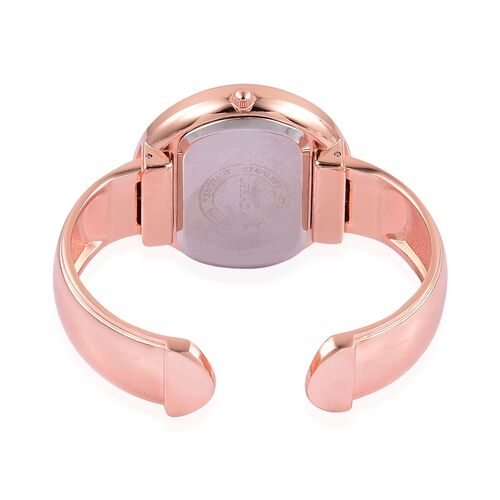 STRADA Japanese Movement Water Resistant Rose Gold Plated Bangle Watch with Studded White Austrian Crystal