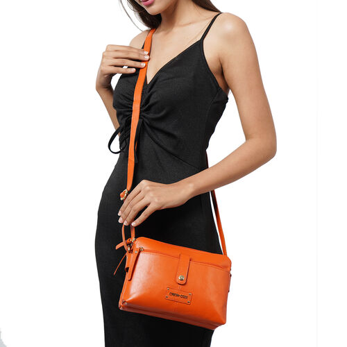 UNION CODE Super Soft 100% Genuine Leather Multi Pocket Crossbody Sling Bag with Zipper Closure (Size 25.5x3x18 Cm) - Orange