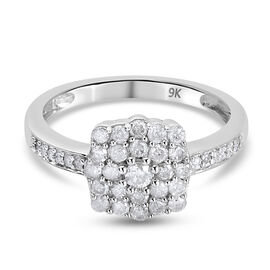 9K White Gold  White Diamond Ring in Rhodium Overlay 0.51 ct,  Gold Wt. 2.82 Gms  0.510  Ct.