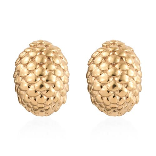 14K Gold Overlay Sterling Silver Sugar Apple Stud Earrings (with Push Back)