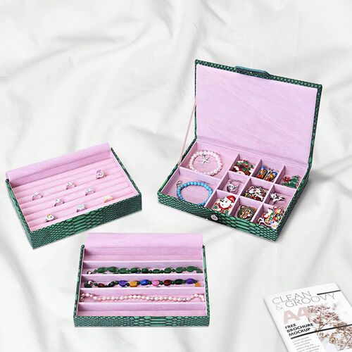 Three- Layer Jewellery Box with Light Pink Velvet Dust Cover on the Second and Third Layer (Size 24.