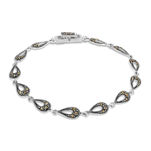 Hatton Garden Close Out - Sterling Silver Marcasite Teardroplet Bracelet (Size 7.5), Sliver Wt. 6.50