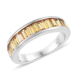 2 Carat Yellow Sapphire Half Eternity Band Ring in Platinum Plated Sterling Silver
