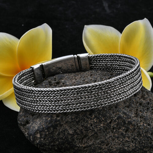 Royal Bali Collection Sterling Silver Tulang Naga Bracelet (Size 7.5), Silver wt 58.00 Gms