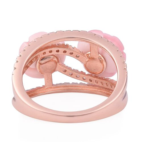 Jardin Collection - Peach Mother of Pearl and Natural White Cambodian Zircon Ring in Rose Gold Overlay Sterling Silver