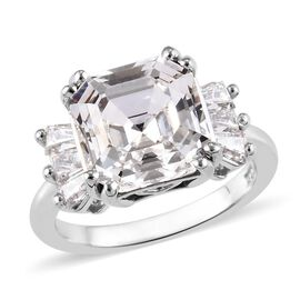 J Francis - Crystal from Swarovski White Crystal (Asscher), Swarovski Zirconia Ring in Platinum Over
