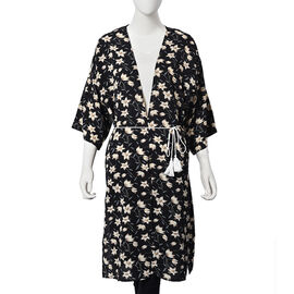 Floral Pattern Midi Dress with Rope Belt (Size 60x103 Cm) -  Light Yellow and Black