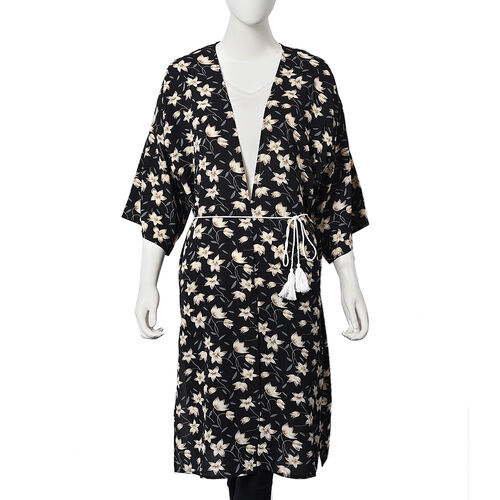 Floral Magnolia Midi Wrap Dress; 100% Polyester Fabric - Size S/M  - Black/Grey/White