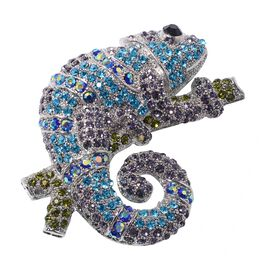 Safari Collection - Multi Colour Austrian Crystal Chameleon Brooch or Pendant With Chain (Size 24) i