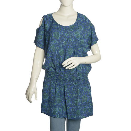 Royal Blue, Green and Multi Colour Floral and Leaves Pattern Cutout Shoulder Top (Free Size)
