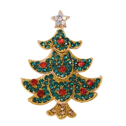 Multi Colour Austrian Crystal (Rnd) Christmas Tree Brooch in Gold Tone