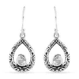 Artisan Crafted Polki Diamond Earrings in Sterling Silver 0.240  Ct.