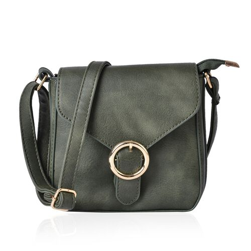 Dark Green Colour Small Size Crossbody Bag With Adjustable Shoulder Strap (Size 18x18x5 Cm)