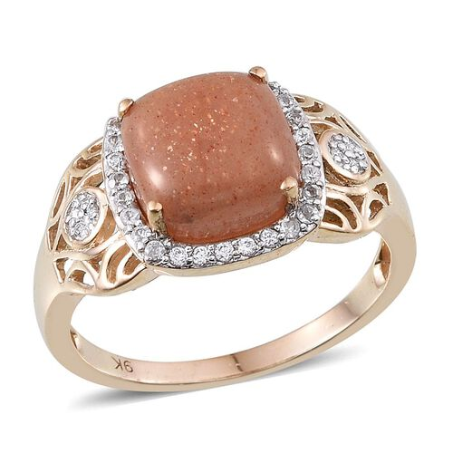9K Y Gold Morogoro Peach Sunstone (Cush 5.00 Ct), Diamond and Natural Cambodian Zircon Ring 5.350 Ct.