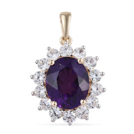 9K Yellow Gold AA Zambian Amethyst (Ovl 12x10 mm), Natural Cambodian Zircon Pendant 6.500 Ct.