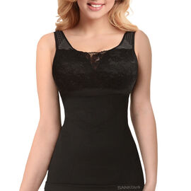 SANKOM Patent Vest with Bra Incorporated with Lace (Size: XXXL 22-24) Black