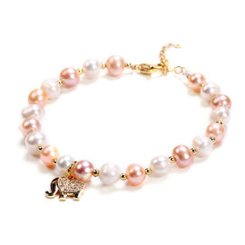 Multi Colour Freshwater Pearl and Simulated Diamond Elephant Charm Bracelet (Size 7.5 with 1.5 inch