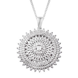 1.25 Carat Diamond Cluster Pendant with Chain in Platinum Plated Sterling Silver 8.22 Grams
