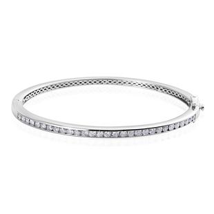 9K White Gold SGL Certified Diamond (I3/G-H) Bangle (Size 7.5), Gold wt 16.00 Gms