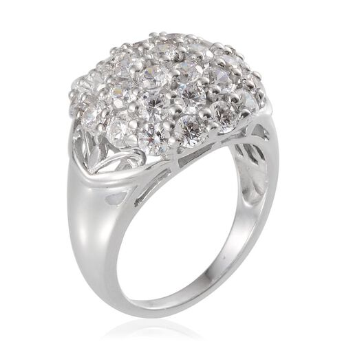 J Francis - Platinum Overlay Sterling Silver (Rnd) Cluster Ring Made with SWAROVSKI ZIRCONIA 3.410 Ct.