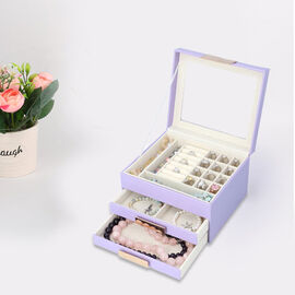 Three Layer Anti-Tarnish Jewellery Box with Transparent Glass Window at Top in Lavender