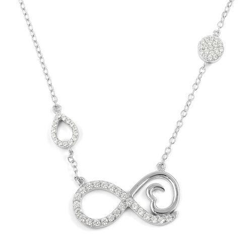 ELANZA Simulated Diamond (Rnd) Infinity Necklace (Size 16) in Rhodium Overlay Sterling Silver