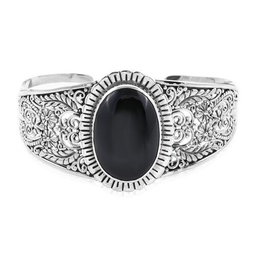 Royal Bali 43 Ct Boi Ploi Black Spinel Cuff Bangle in Sterling Silver 31.65 Grams 7.25 Inch
